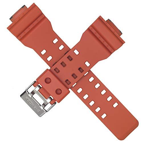 Casio - Correa de reloj para GA-100L-4A GA100L GA 100 GA 100L, color naranja y negro