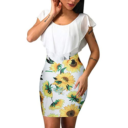 HHmei Sexy Sleeveless Sunflower Dresses for Women, Color Contrast Holiday Party Short Mini Bodycon Dress Jumper Formal Butterfly Up Split Print Flowy Embroidered Pleated Body Shaper (White L)
