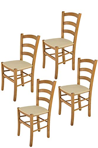 Tommychairs - Set 4 sillas Venice para Cocina y Comedor, Estructura en Madera de Haya Color Roble y Asiento tapizado en Tejido Color cáñamo