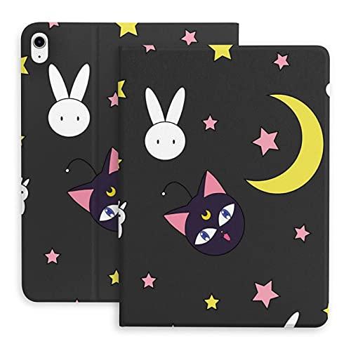 Funda para iPad Air 4 Sailor-Moon Stars Gatos Conejos Lindo Negro Ligero Soporte Delgado Suave TPU con Portalápices incorporado Auto Sleep Wake