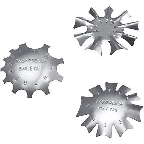 POFET - Plantilla de metal para uñas (3 tamaños, punta francesa, corte de sonrisa, corte de línea)