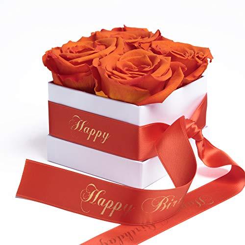 Flowerbox weiß Happy Birthday - Rose in Box mit infinity Blumen haltbar 3 Jahre - Geburtstagsgeschenk für Frauen (Happy Birthday, Weiß-Orange)