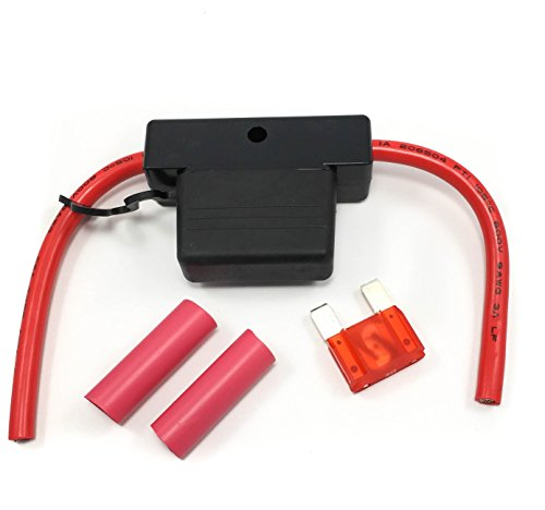 Maxi Fuse Holder Red Leads 5 6ga Tinned Wire 60a (50 Amp Fuse)