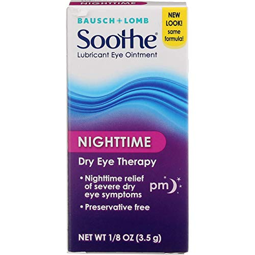 Bausch + Lomb Soothe Lubricant Eye Ointment Night Time Dry Eye Therapy, 0.13 Oz (4 Pack)