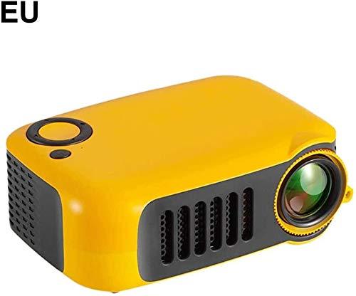 Yughb Mini Proyector portátil Proyector Video con el Mando a Distancia Full HD 1080P Multimedia Home Theater proyector de película (Color : Orange EU Plug)