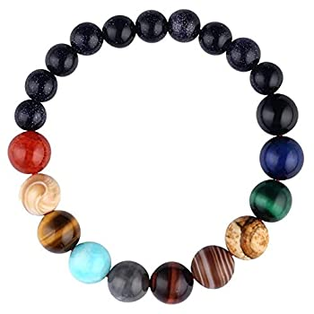 Moonnight Store Lovers Eight Planets Natural Stone Bracelet Universe Yoga Chakra Galaxy Solar System Bracelets for Men or Women Jewelry Dropship  Women Style 6-8mm