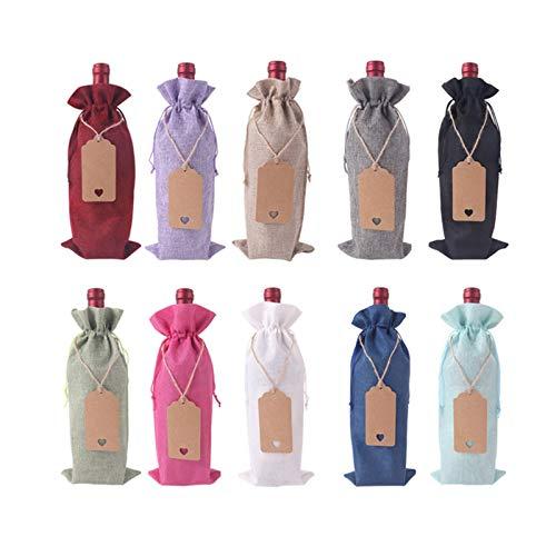 Bolsas de vino con cordones 10 unidades, fundas reutilizables para botellas con cuerdas y etiquetas, decoración en el hogar/cocina/bar