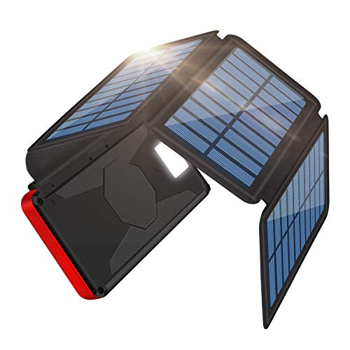「2021新登場 ソーラーチャージャーモバイルバッテリー」ソーラーチャージャー モバイルバッテリー 大容量 26800mAh 折り畳み式充電器 PSE 認証済 4枚ソーラーパネル付き SOSモード 高輝度LEDライト搭載 太陽光とUSBケーブルで充電でき 地震/災害/旅行/出張など場合に大活躍
