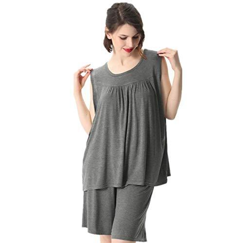 ZYZYY Ropa Casual para el hogar Tallas grandesVerano Pijama Suelto 2P Conjunto Mujer Modal sólido Ropa de Dormir Ropa de dormirpijama Mujer-2_6XL