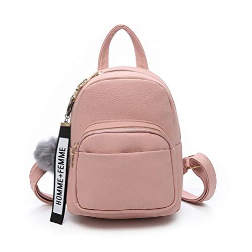 Katech Rucksack Damen Schultertasche Casual wasserdichte Schultasche Daypack Damen Kleinen Rucksack Mädchen Schultaschen Handtasche mit Pom Pom Ball (Pink)