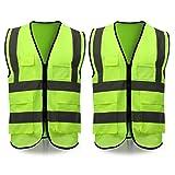 ELUTO Chalecos de Seguridad 2PCS Chaleco Reflectante Seguridad Visibilidad Alta Chaleco para Varios sitios de construcción y Seguridad Vial 58 * 68cm