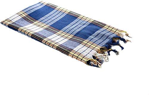 Carenesse Hamamtuch Classic 80 x 170 cm I Hamam Handtuch 100% Baumwolle I Saugfähiges & schnell trocknendes Pestemal/Fouta blau kariert I Hamam Strandtuch/Saunahandtuch mit kleinem Packmaß