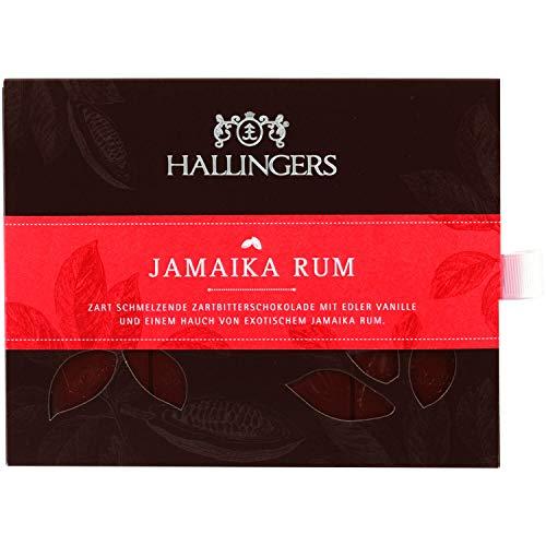 Hallingers Zartbitter-Schokolade mit Vanille & Rum hand-geschöpft (90g) - Jamaika Rum (Tafel-Karton) - zu Passt immer