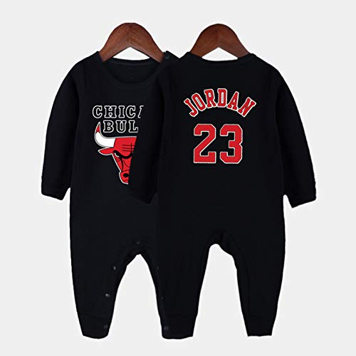 LDLXDR Maillots de joueur de Basket-Ball garçon- Baby Basketball Jersey 0-15 Monate Baby James Bryant Baby Overall Pullover,Black-1,66cm
