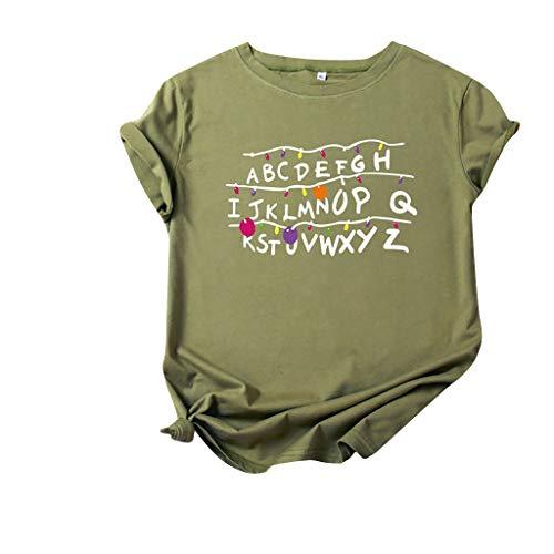 Bestyyo Camiseta de verano con letras del alfabeto impreso de frutas y manga corta para mujer, verano, ocio, Navidad, diseño del alfabeto divertido cuello redondo manga corta camiseta Top