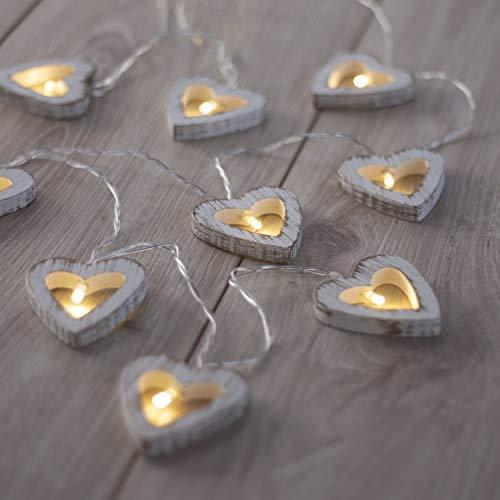 DecoKing 10er LED Lichterkette auf silbernem Draht Herzen warmes Weiß statisch batteriebetriebene LED Girlande Gartendeko