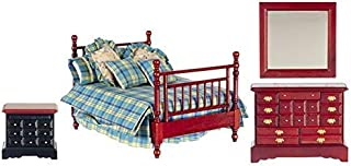 Melody Jane Dollhouse Mahogany Double Bedroom Furniture Set with Country Check Bedding