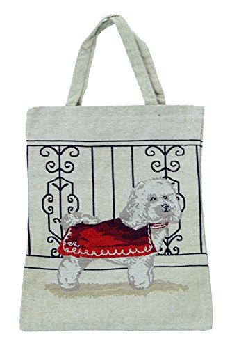 Bowatex Einkaufstasche Beutel Stofftasche Motiv Hund mit roter Jacke 40 x 32 cm Shopper Bag Tasche Bistro Gobelin Royaltex Signare Fa