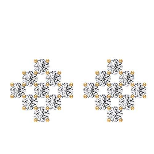 Pendientes dorados para mujer, cómodos, de 2 mm, corte redondo, diamante, corte brillante, personalizado, corte brillante, 1/2 CTT Diamond Cluster antiguo diario, ropa de oficina,18K Oro amarillo, Par