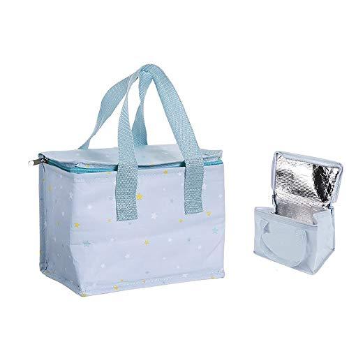 Merienda koeltas, ritssluiting en handvat, bedrukt met sterren. My Baby tas, 21 x 13 x 16 cm, lichtblauw