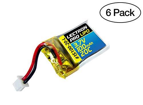 (6 Pack) Lectron Pro 3.7V 100mAh 20C Lipo Battery for Estes Proto X, Syncro X, and Hubsan Q4 Nano Quadcopter