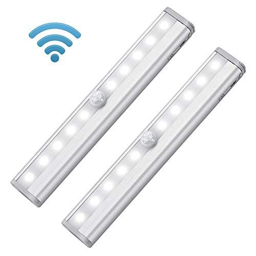 Kabelloser Bewegungsmelder, LED-Nachtlicht, batteriebetrieben, Magnetstreifen, zum Aufkleben unter Schränken, an Kommoden, Schuppen, Treppenaufgängen etc., weiß