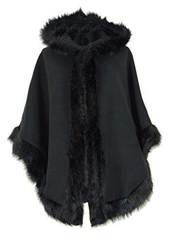 Poncho da donna in lana stile pelliccia, con cappuccio, taglia unica (dalla 42 alla 50) Black One Taglia