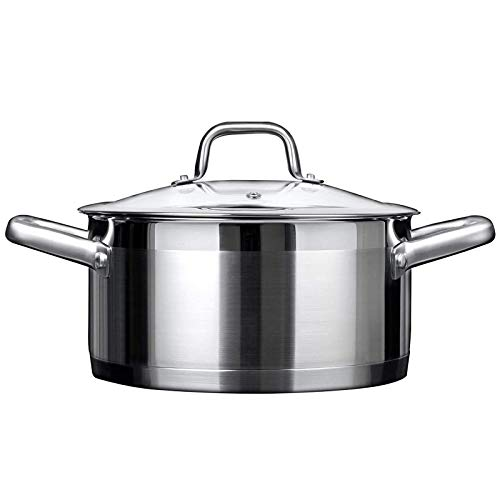 Duxtop Professional Stainless Steel Stock Pot with Glass Lid, Induction Cooking Pot,...