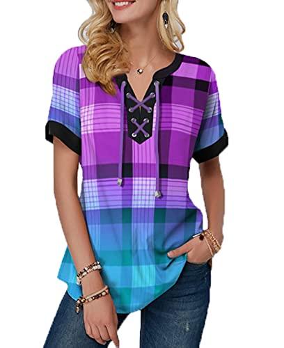 SuéTeres Blusa Camisa Boho Estampado De Encaje Empalme Tops De Mujer con Cuello En V Suelto Casual Verano Nueva Camiseta Femenina