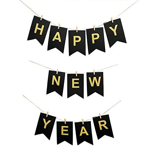 DaoRier Frohes Neues Jahr Fischschwanzform Flagge (enthält 12 Holzklammern, eine Schnur, 12 Buchstabenaufkleber, 12 Schwarze Flaggen), Wie versucht, Wie versucht, 1Set