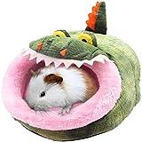 Soft Cave Haustierbett Plüsch Haustier mit abnehmbarem für Kleintier Haustier Bett Käfig Bettwäsche Niedliche Tier Meerschweinchen Zwinger Haustier Hamster Katze Igel Chinchillas (Krokodil-form , L )