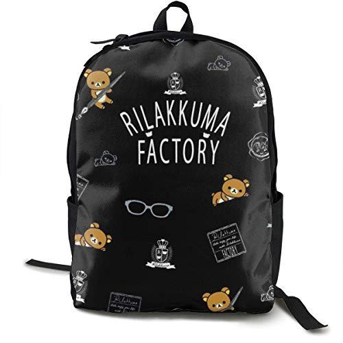 Backpacks,Rilakkuma Korilakkuma Anime Kinderrucksack Rucksack, Hilfreiche Schulterrucksäcke Für Schulcamping,32cm(W) x42cm(H)