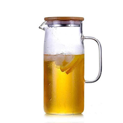 Zoo-Yilchu Tetera, Resistente al Calor Jarro de Cristal Recto Taza de la Botella de Agua fría Tetera Cuerpo de la Olla de ebullición de Agua de bambú Cubierta de Agua fría