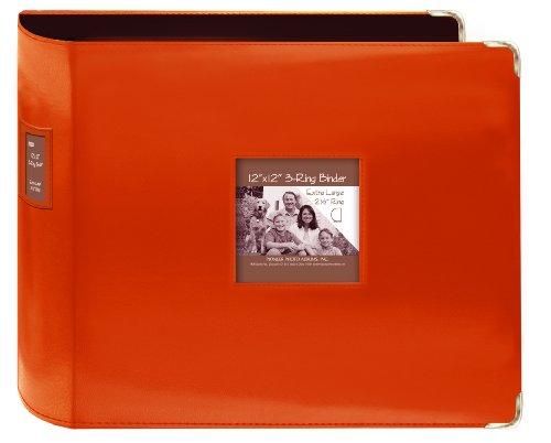 Pioneer Cousu en Similicuir classeur 3 Anneaux 30,5 x 30,5 cm – Orange Vif,
