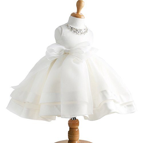 Baby Girl Dress Christening Baptism Gowns Sequined Formal Dress White 18-24 Months