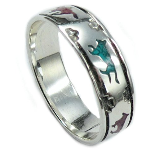 Indianerschmuck Ring aus Sterling Silber - Wolves On The Run,Türkis/Koralle-8: Durchmesser 18,15 mm, Umfang 57,00 mm