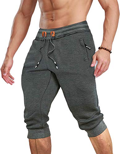 MAGCOMSEN Joggers for Men with Pockets Workout Shorts Men Running Shorts Gym Shorts Sweatpants for Men Below Knee Pants Capri Shorts 3/4 Sweatpants 3/4 Joggers for Men