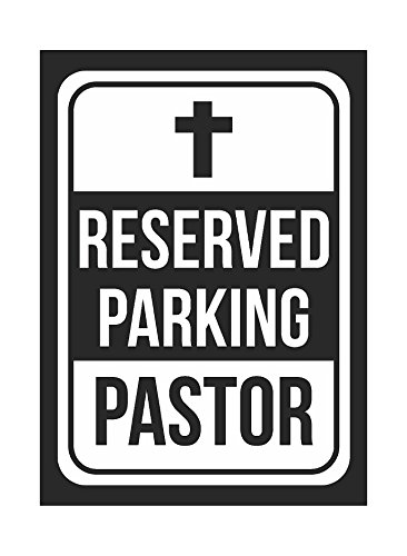 Reserved Parking Pastor Print White and Black Notice Parking Metal Small Sign - 1 Pack of Signs, 7.5x10.5 Inch