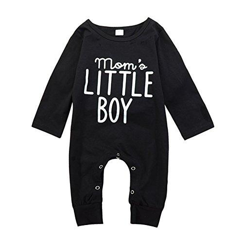 Brightup Baby Junge Langarm Spielanzug Overall mit Knöpfen Frühjahr Herbst Outfit Kleidung, Mom's Little Boy Gedruckt Overall
