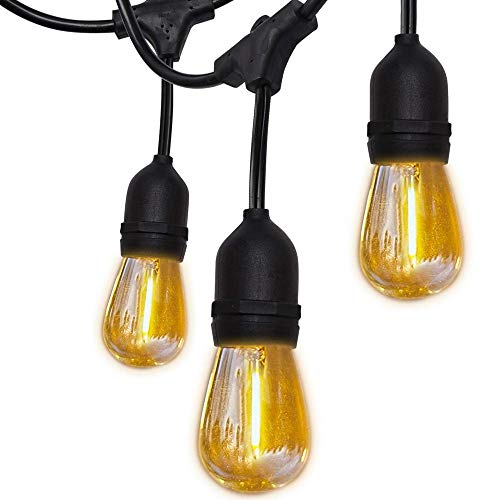 UL Approval Shatterproof 52ft LED Outdoor String Lights SUPERDANNY Commercial Grade Waterproof 26 (2 for Spare) Edison Bulbs 30pcs Zip Ties Weatherproof Plastic Bulb