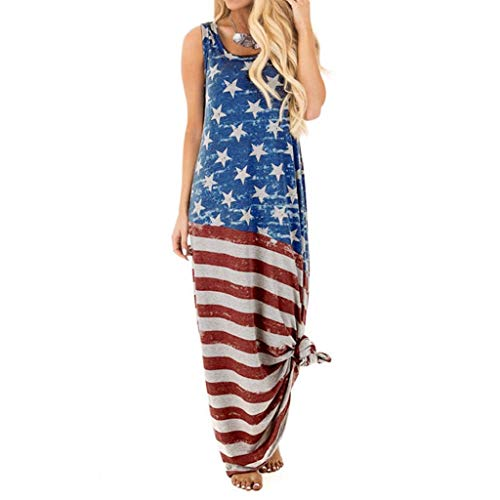 SHOBDW Sexy Damen Amerikanische Flagge Drucken Große Größe Freizeitkleider Sommerkleid Frauen Tag der Unabhängigkeit Stilvoll Lässig Ärmellos Rundhals Maixkleid Strandkleid Sommerkleid