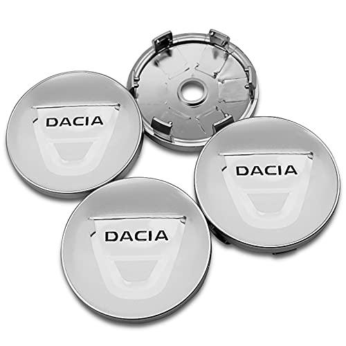 NMDNNJ 4 Piezas De 60mm para Dacia, Cubiertas De Ruedas De AutomóViles, Insignias, Pegatinas, Cubiertas De Polvo De Ruedas, CalcomaníAs