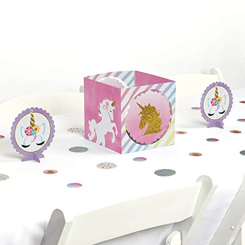 Big Dot of Happiness Rainbow Unicorn - Magical Unicorn Baby Shower or Birthday Party Centerpiece & Table Decoration Kit