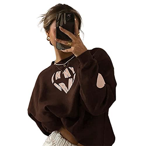 FeMereina Mujeres Casual Sudaderas Sueltas Carta Amor Corazón Impresión Manga Larga O-Cuello Jersey Tank Tops Y2K Cute Streetwear Outwear, marrón, M