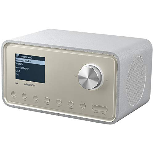 MEDION S85105 Internetradio mit 2.1 Soundsystem (8,1 cm (3,2 Zoll) Farbdisplay, WLAN, DAB+, UKW FM, LAN, DLNA, Line in/Out, 2 x 10 W RMS) Silber