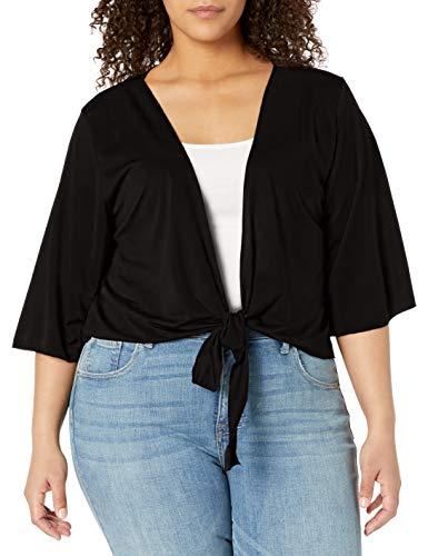 Star Vixen Women's Plus-Size 3/4 Sleeve Tiefront Shrug, Black Solid, 2X