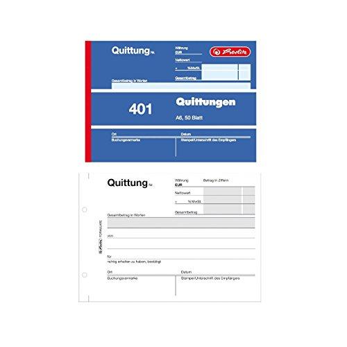 Herlitz Quittungsblock 401, A6 quer, 50 Blatt (10er Vorteilspack)