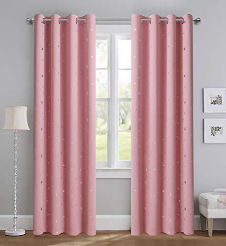 Vorhänge mit rosa Sternen, Verdunkelungsvorhänge mit silberfarbenem Glitzerstern, für Wohnzimmer, 2 Paneele, schwere und weiche Stoffe, für Schlafzimmer und Weltraumliebende Erwachsene, 160 cm Länge