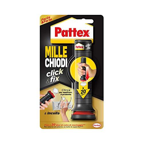 Pattex Millechiodi Click&Fix, adesivo universale istantaneo con facile applicatore predosato, clicca e incolla con l' adesivo extra forte facile da usare, 1x 20 dosi