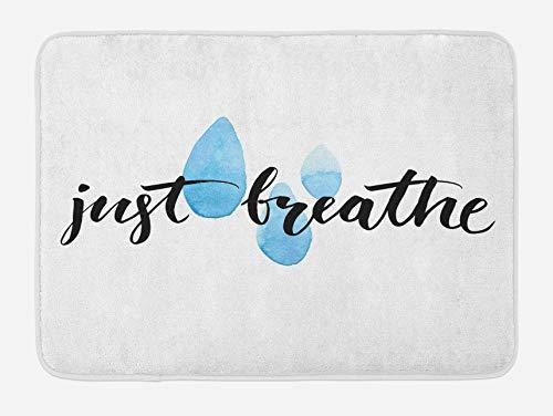 Dire tapis de bain, juste respirer des mots inspirants calligraphie goutte de pluie Spots thème de positivité de la vie, tapis de décor de salle de bain en peluche avec support antidérapant, bleu noir